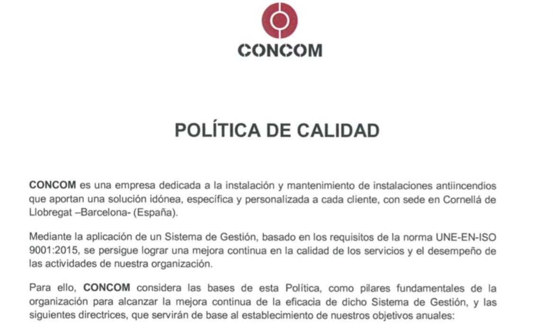 Concom ratifica la Política de Calidad 2018